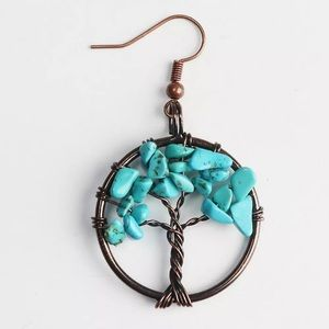 Jewelry - Tree of life earrings - turquoise or rose quartz